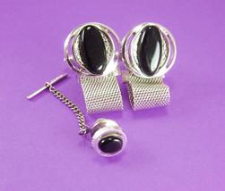 Dante Mesh Wrap Cufflinks BLack Vintage Silver Tie Tack Set Modernist Mens Ladie - $115.00