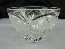 Glass Bowl Etched Cut Crystal Starburst Ray Design - $19.02
