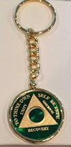 Any Year 1 - 65 Green Gold Plated AA Medallion In Keychain Removable Sobriety... - $29.99