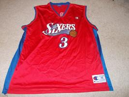 VTG-1990s Philadelphia 76ers Allen Iverson Champion Basketball Jersey 48 - $65.09