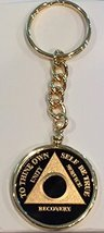 Black Gold Plated Any Year 1 - 65 AA Medallion In Keychain Removable Sobriety... - $29.99