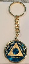 Blue Gold Plated Any Year 1 - 65 AA Medallion In Keychain Removable Sobriety ... - $29.99