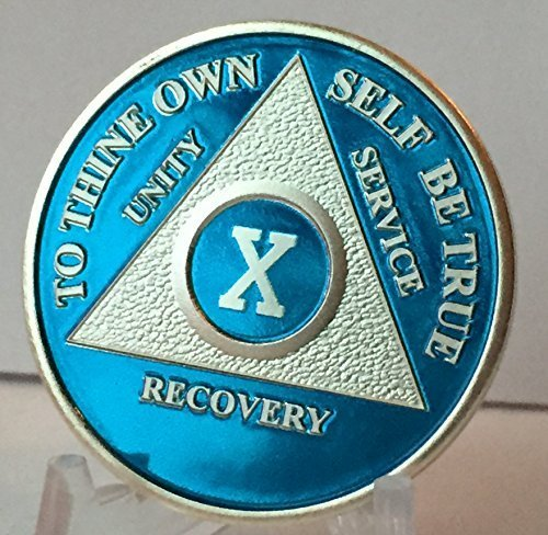 10 Year Blue Silver Plated Aa Medallion Sobriety Chip