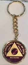 Purple Gold Plated Any Year 1 - 65 AA Medallion In Keychain Removable Sobriet... - $29.99
