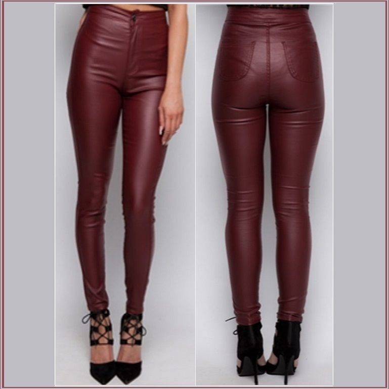 Wine Red Faux Leather High Waist Open Fly Skinny Stretch Pants with Back Pockets