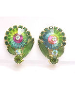 Colorful Vintage Rhinestone Floral Motif Clip-On EARRINGS - GORGEOUS - F... - $75.00