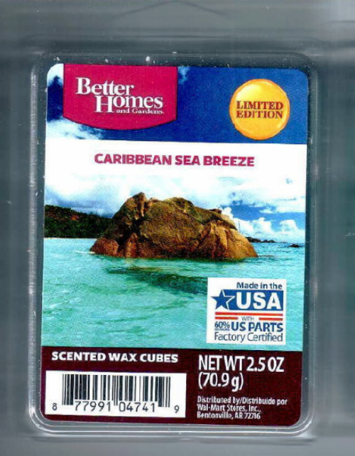 Caribbean sea breeze better homes and gardens wax cubes melts scented tarts candles for Better homes and gardens wax melts