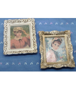 Two Small  HULDAH Framed Prints / Women in Hats / Ivory & Gold Plastic F... - $20.00