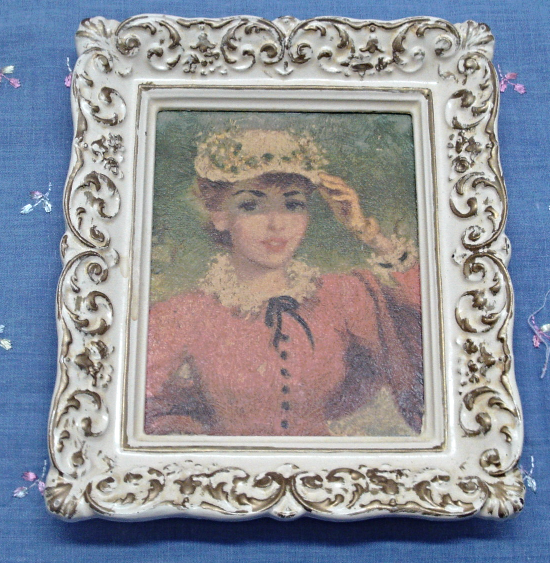 Two Small  HULDAH Framed Prints / Women in Hats / Ivory & Gold Plastic Frames