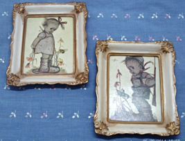 Two Vintage Hummel Reproduction Prints In Ivory & Gold Frames /W. Berlin Germany - $12.00