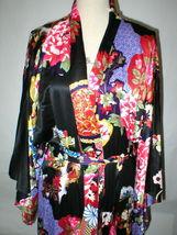 NWT New Designer Natori Wrap Robe Womens S Silky Satin Flowers Blue Red White image 4