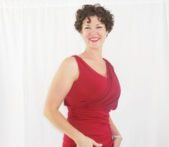 Red Hollywood Dress with Wrap Detailing, Formal Red Party Dress, Red Wrap Dress image 6