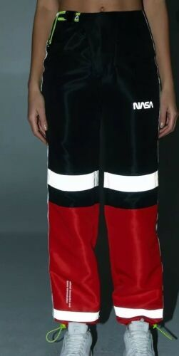 Forever 21 NASA Reflective Joggers Jogging Sweat Pants Red Black Size S NEW image 4