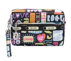 Cute Waterproof Oxford Cloth Three Layer Clutch Handbag Coin Purse, Living Color