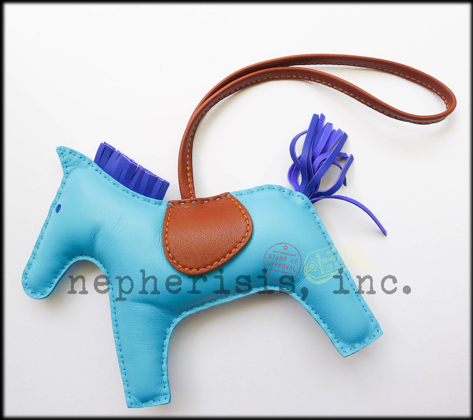 0f1b509a030 ... order auth nwb hermes grigri rodeo horse gm large leather bag charm  blue azteque 061a6 4b809