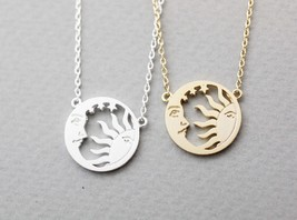 Sun and moon necklace,sun moon jewelry,wiccan jewelry,pagan,planet necklace - $11.50