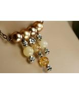 Orange citrine, Swarovski crystal pearl and yellow jade neklace - $75.00
