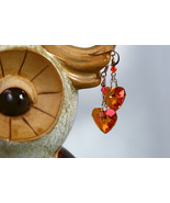 Swarovski crystal astral pink heart earrings, rose gold plated earwire &... - $50.00