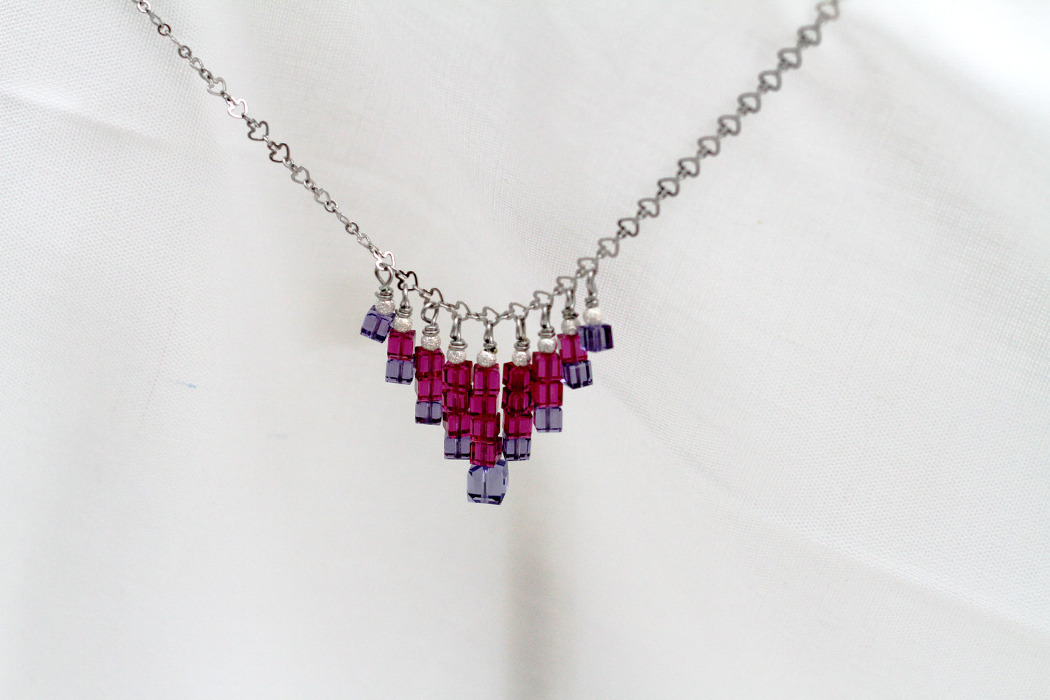 Primary image for Swarovski crystal cube necklace, sterling silver beads, silver plated chain