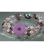 Swarovski crystal flower bracelet, 2 strands (Purple - Pink) - $60.00