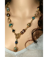 Designer glass beads and Swarovski link necklace, gold and blue tone - $80.00