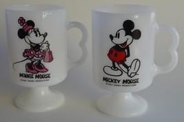 Disney ~ Mickey & Minnie Mouse ~ Set of 2 Pedestal Milk Glass Coffee Cups Mugs - $29.95