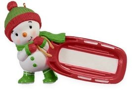 Sledding Snowman Write-On 2009 Hallmark Ornament - $3.00