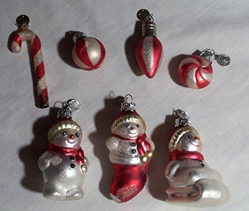 Retired Department 56 Mini Glass Ornament Set - Snowmen