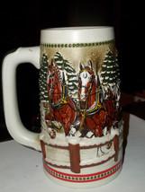 Ceramarte Budweiser Clydesdales Beer Stein Mug  C.1984 Team & Wagon bridge - $19.00