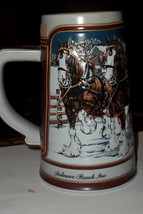 Ceramarte Budweiser Clydesdales Holiday Beer Stein Hitch on a Winters Ev... - $15.00