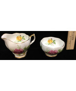 Sugar Bowl & Creamer Queen Anne Bone China Pink Yellow Rose Set Pair White - $12.86