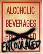 Alcoholic Beverages  Metal Tin Sign Wall Art  - $19.79