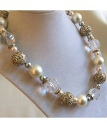 Silver Tone Pearl faux Crystal metal filigree toggle clasp chunky neckla... - $34.65