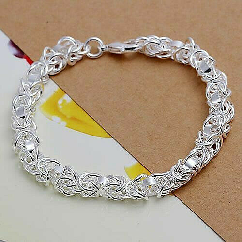 Primary image for Thick Ring Link Bracelet Sterling Silver NEW