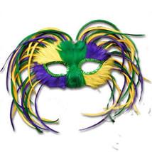 Crazy Purple Green Yellow Mardi Gras MASQUERADE PARTY FEATHER Eye Mask c... - €7,53 EUR