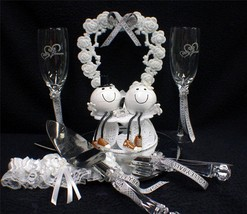 Football Volleyball Volley Ball Beach Wedding Cake Topper LOT Glasses Server set - $98.88