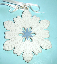 Wedgwood White Snowflake Ornament Figural Pierced w/Blue Center 2013 New - $27.90