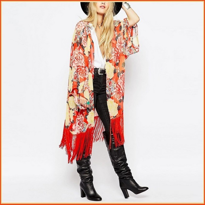 Avante Garde Red Tassel Hem Loose Sleeved Color Floral Chiffon Kimono Cardigan
