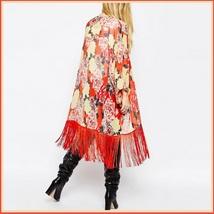Avante Garde Red Tassel Hem Loose Sleeved Color Floral Chiffon Kimono Cardigan  image 2