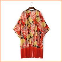 Avante Garde Red Tassel Hem Loose Sleeved Color Floral Chiffon Kimono Cardigan  image 3