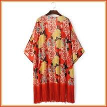 Avante Garde Red Tassel Hem Loose Sleeved Color Floral Chiffon Kimono Cardigan  image 4