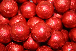 MILK CHOCOLATE BALLS RED FOILED, 1LB - $15.69