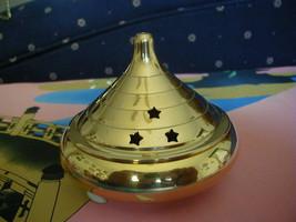 Large All brass plain charcoal resin incense burner - $18.95