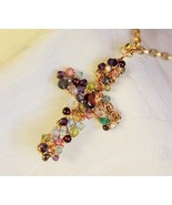 Gold Swirl Gemstone Cross Necklace - $135.00