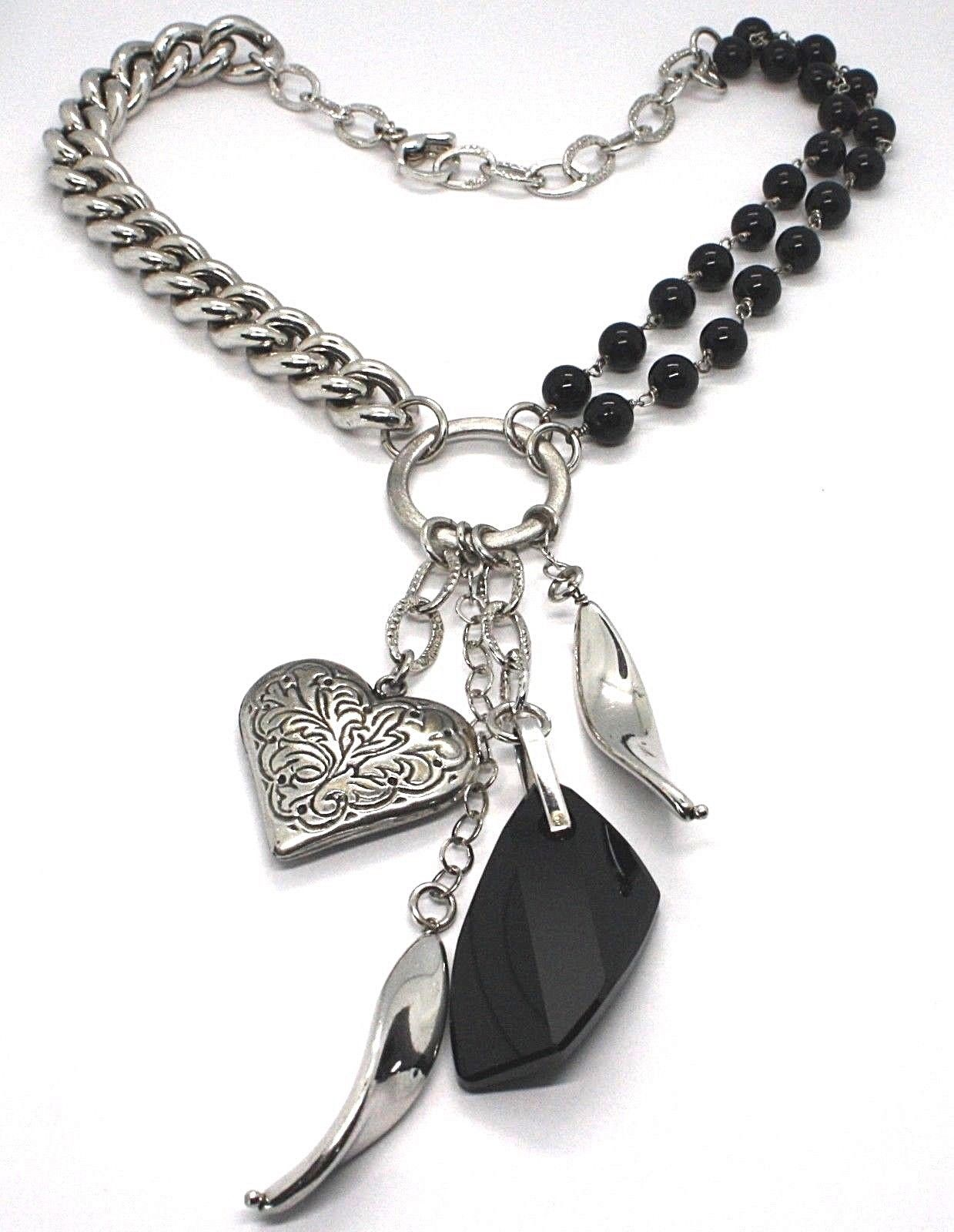 SILVER 925 NECKLACE, DOUBLE ROW ONYX, CHAIN CURB CHAIN, HEART MILLED