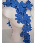 Hydrangea Blue Shell Scarf Handmade Crochet Knit Neckwarmer - $19.31