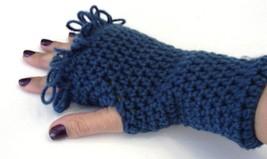 Blue Fingerless Glove Crochet Handmade - $9.90