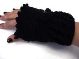 Black Fingerless Glove Crochet Handmade - $9.90