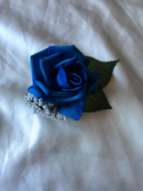 Dyed royal blue Rose Boutonnieres - $4.25