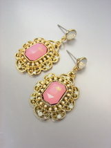 GORGEOUS Downton Abbey Style Pink Aventurine Gold White Opal Crystals Earrings - £9.87 GBP